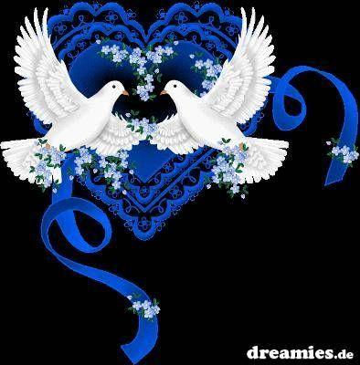 blaues herz+weiße tauben