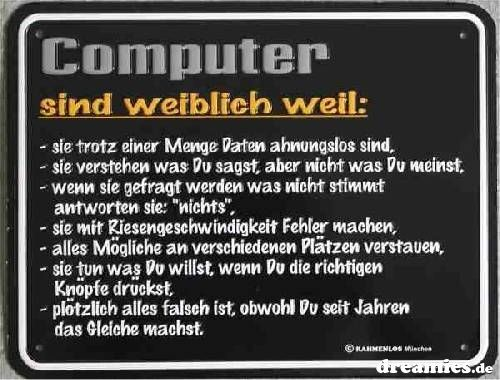 computer sind weiblich weil: