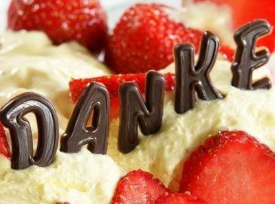 Danke auf einem Kuchen