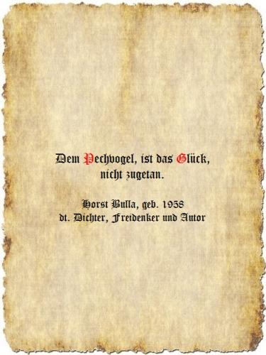 Dem Pechvogel, ist das Glück, nicht zugetan. - Zitat Horst Bulla