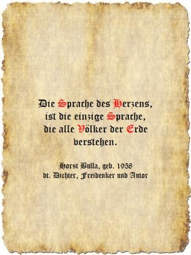 Die Sprache des Herzens - Zitat Horst Bulla