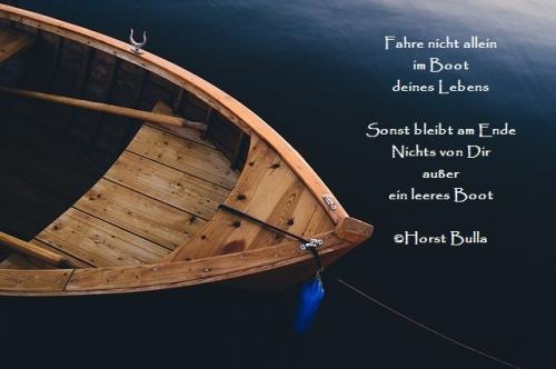 Fahre nicht allein, im Boot deines Lebens - Zitat Horst Bulla
