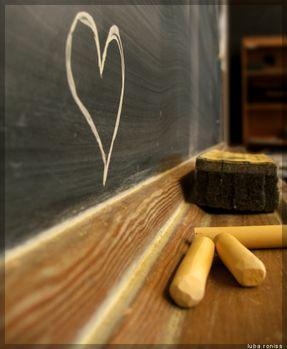 Herz auf einer Tafel