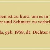 Bildzitat - Das Leben ist zu kurz - Zitat von Horst Bulla