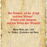 Die Antwort, auf der Frage nach dem Warum - Zitat Horst Bulla
