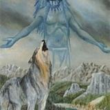 Heulender Wolf mit Indianer