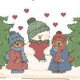 Schneemann im Wald
